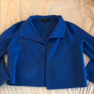 Talbots Wool Suit Style Sweater in Blue M Petite